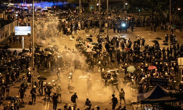 Police fire tear gas at protesters outside the Legislative Council Complex on July 2, 2019 in Hong Kong, China.