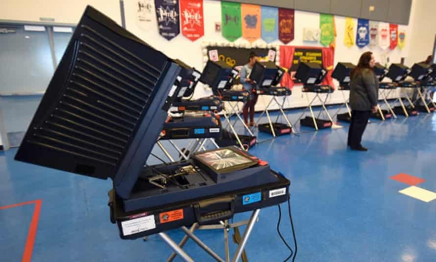 Voting machines are set up in Las Vegas, Nevada, for the 2016 presidential election.