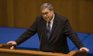 William Barr, US attorney general, speaks to students at the University of Notre Dame law school on 11 October.