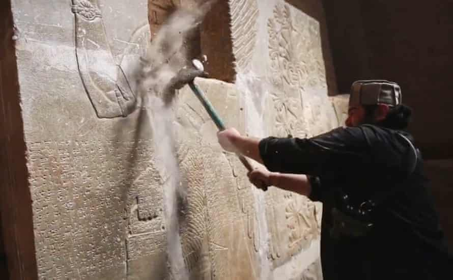 An Isis video captures the destruction of a frieze at the ancient Assyrian city of Nimrud