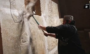 A still from an Islamic State video purportedly showing destruction of Nimrud.