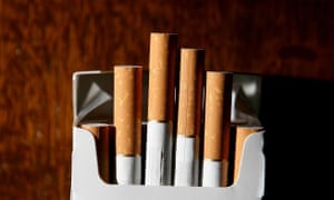 An opened pack of cigarettes