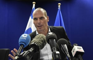 Greek Finance Minister Yanis Varoufakis speaks during a press conference after a Eurogroup Council meeting on May 11, 2015 at the EU Headquarters in Brussels. AFP PHOTO/JOHN THYSJOHN THYS/AFP/Getty Images