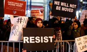 'Facts on the ground': a New York protest against Donald Trump's travel ban last week.