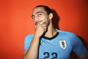 Uruguay's Martin Caceres strikes a thoughtful pose.