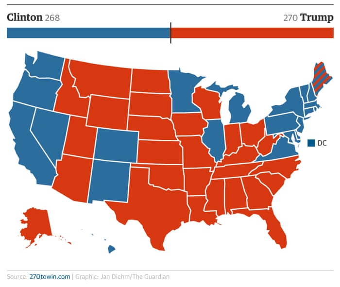 US Presidential Election Five Scenarios That Could Play Out This - Us election 2016 map the guardian