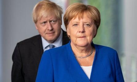 Boris Johnson and Angela Merkel in Berlin, August 2019