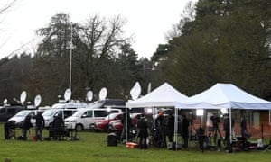 Members of the media are seen at the Sandringham Estate