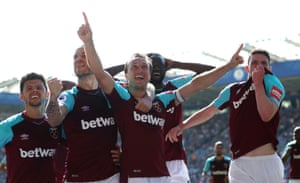 West Ham United's Mark Noble celebrates scoring the second goal to beat Leicester 2-0 at the King Power Stadium.