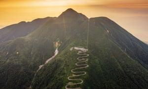 Aerial view of mountain road on Mount Iwaki, Aomori prefecture, Tohoku, Honshu, Japan