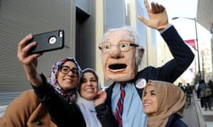 Bernie Sanders supporters; one in a Bernie costume.
