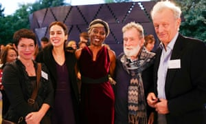 The judges for the 2017 Man Booker prize (from left): Sarah Hall, Lila Azam Zanganeh, Baroness Lola Young, Tom Phillips and Colin Thubron.
