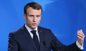 The French president Emmanuel Macron speaking at his press conference.