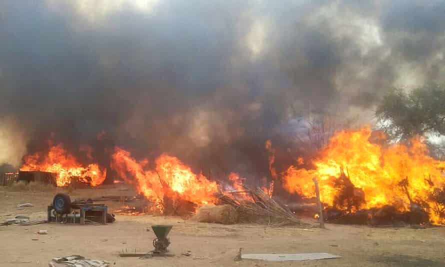 Burning camps during an operation in Nigeria's northeastern state of Borno Anti Boko Haram operation, Borno, Nigeria - 16 Mar 2016 Nigerian soldiers on Wednesday participated in an operation of destroying Boko Haram terrorists camps at Bulasari area of Borno State. Nigerian troops recovered armored carrier from the terrorists