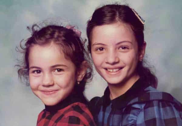Zafirakou (left) with her older sister, 1985.