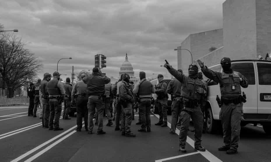 National guard troops gather on Pennsylvania Ave in Washington on 17 January. Photo by Jordan Gale