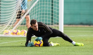Martin Dubravka during warm-weather training in Spain.