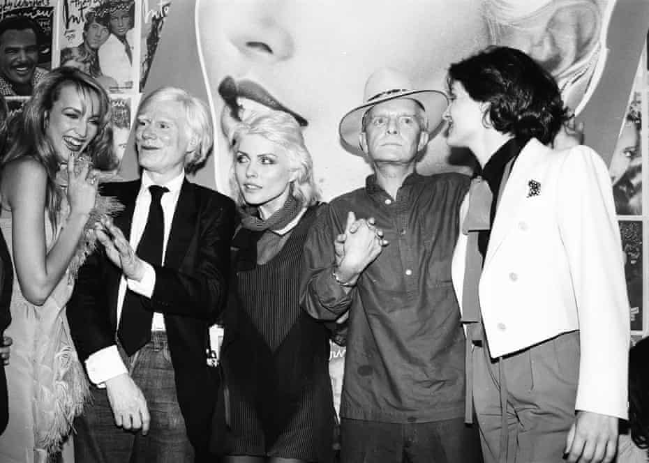 Social whirl … from left, Jerry Hall, Andy Warhol, Debbie Harry, Capote and Paloma Picasso, at Studio 54 in 1979.