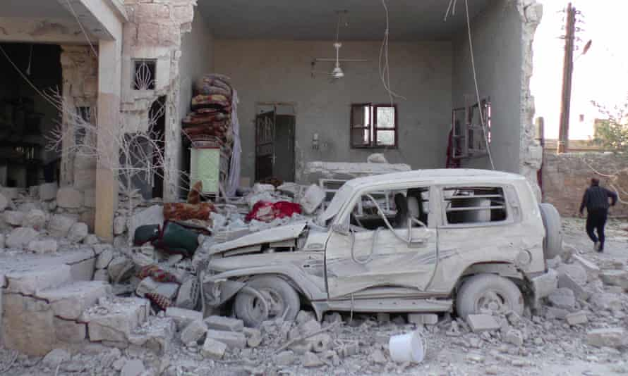 Bombed building in Idlib province
