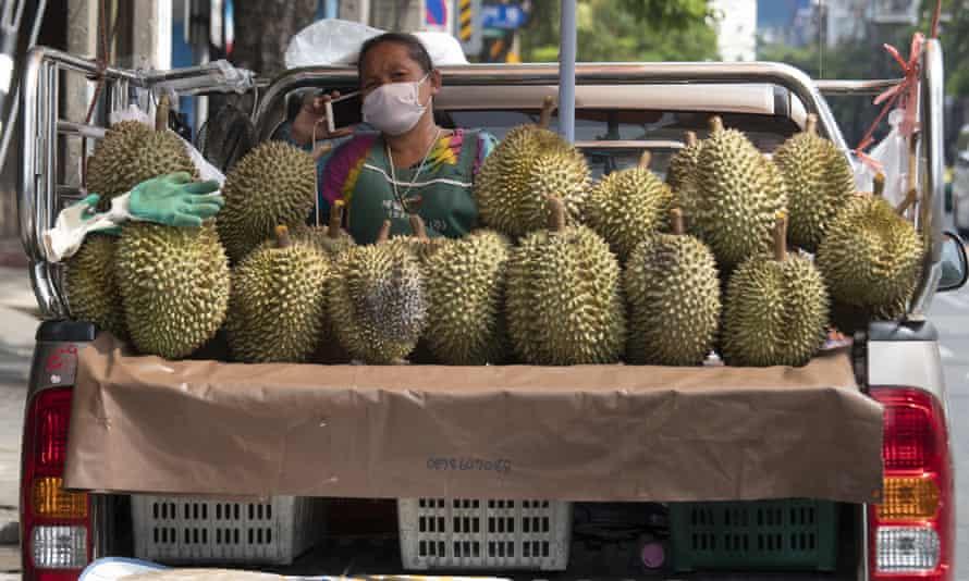 A durian vendor in Bangkok, Thailand.