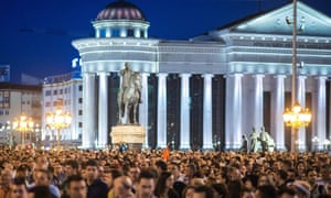 Protesters gather outside Skopje's Architecture Museum earlier this year.
