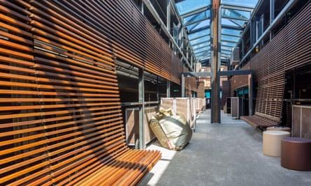 The stylish interior corridor of the hotel