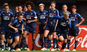 Italy's women's football team in training on the eve of their Uefa 2017 group B match against Russia