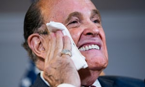 It's getting hot in here. Giuliani in the Republican National Committee Headquarters in Washington, DC, USA, 19 November 2020.