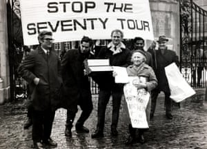 Anti-apartheid demonstrators outside Lord's in February 1970 protest against the forthcoming tour by the South Africa cricket team