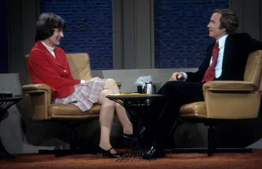 Morris discusses Conundrum, one of the first autobiographies to explore personal gender reassignment, on the Dick Cavett show in the US, 1974