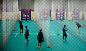 The Pakistan team during a nets session at Old Trafford's indoor school.