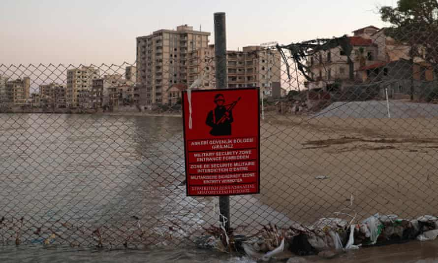 A Turkish army sign is pictured in the fenced-off area of Varosha in Famagusta town in the self-proclaimed Turkish Republic of Northern Cyprus of the divided Mediterranean island of Cyprus