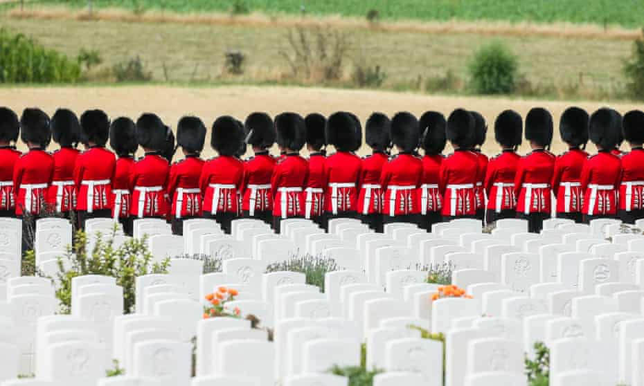 Irish Guards arrive at Tyne Cot cemetery for the battle of Passchendaele ceremony