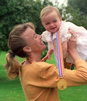 Eilish McColgan wearing the gold medal her mother, Liz, had just won at the 1991 Tokyo world championships