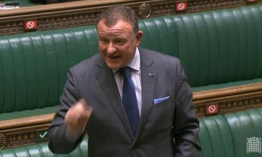 SNP MP Drew Hendry during the debate which led to his suspension from the Commons.