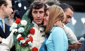 Jackie Stewart celebrates race win with wife Helen