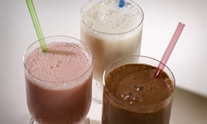 Chocolate, strawberry and vanilla milk shakes.