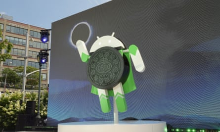 Google and Oreo reveal the Android Oreo during the solar eclipse on Monday in New York City.