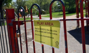 A sign on a park gate in Leicester reads: 'Due to COVID-19, this play area will be closed until further notice'