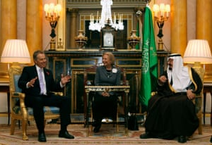 Tony Blair and Saudi Arabia's King Abdullah at a meeting at Buckingham Palace in London in 2007.