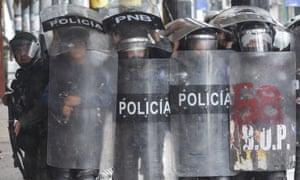 Riot police  in San Cristobal, Tachira on Saturday.