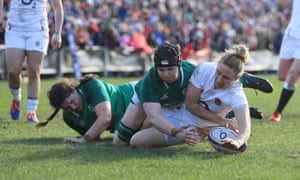 England full-back Sarah McKenna scores a second-half try during England's 27-0 Women's Six Nations victory against Ireland at Castle Park in Doncaster.