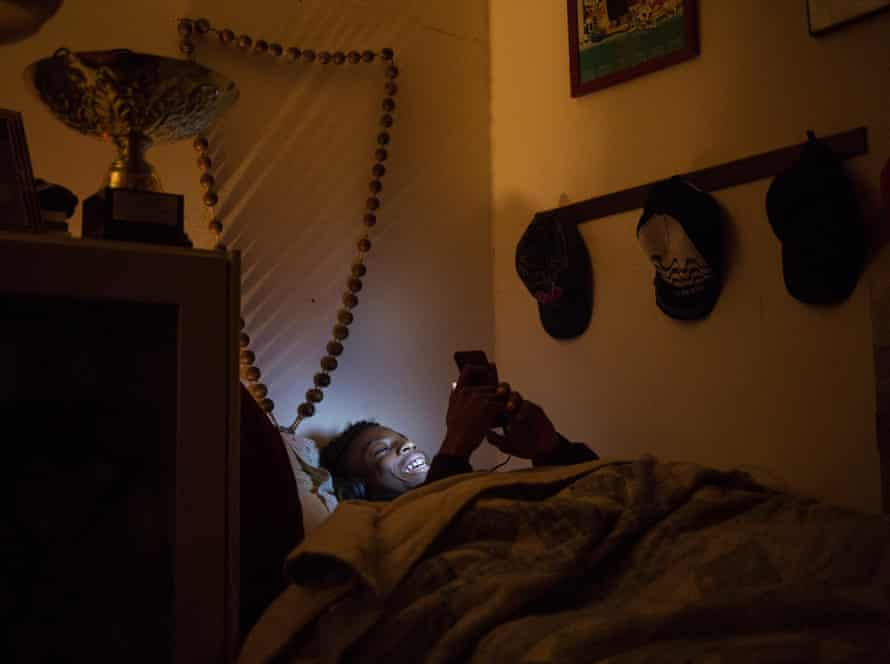 Wisdon, 13, texts in his room at night