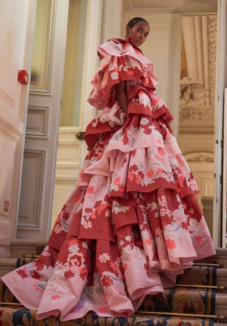 A model in one Valentino's gowns in Paris this week.