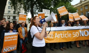 Brexit supporters protest outside Downing Street in July.