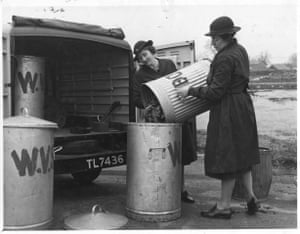 WVS members collecting bones for salvage in Cranwell, East Kesteven, Lincolnshire, May 1941
