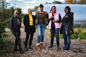 Zen Adams, Sheena Diane, Shallanna Agbomanyi and Lori Middleton, administrators of Rid-All standing in front of greenhouses at Rid-All in Cleveland, Ohio.