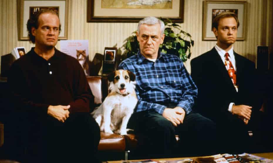 John Mahoney, centre, as Martin Crane, with Kelsey Grammer, left as Frasier Crane and David Hyde Pierce as Niles Crane in an episode of Frasier.