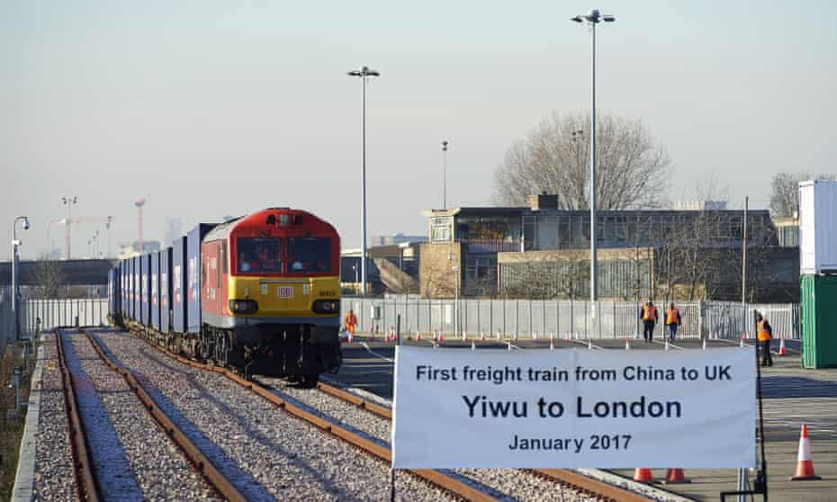 A freight train transporting goods from China arrives at DB Cargo's London Eurohub in Barking