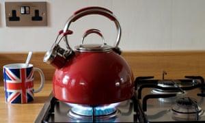 Gas kettle on a hob